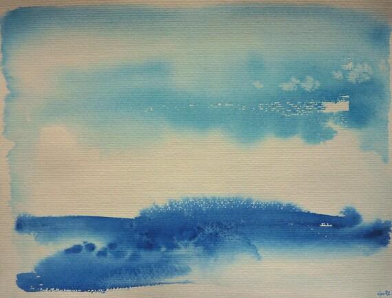 Entre ciel et mer Paysage marin aquarelle sur papier grain   Etsy 9bde39bb7b6