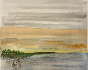 Reed bed at sunset - landscape painting - original watercolor on paper 25 x 25 cm.