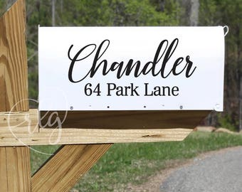 Personalized Name and Address Mailbox decal  | Calligraphy | Script