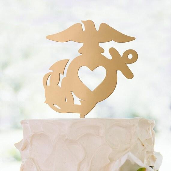 US Marine Corps EGA Cake Topper Metallic Glitter Wood   Etsy