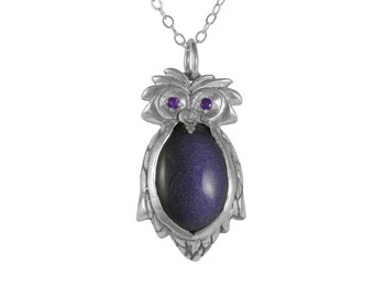 Owl Jewelry, Little Owl Necklace, Amethyst and Purple Goldstone, Sterling Silver Necklace, Animal Pendant, Handmade Jewelry, Silver Owl