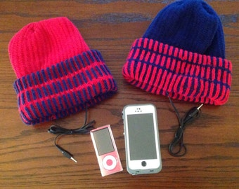 Beanie Knit hat with built in headphones - misc