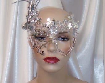 Silver Metal Phantom Mask, Phantom One Eye Mask, Masquerade Mask, Mardi Gras Mask, Wedding Mask, Bridal Mask