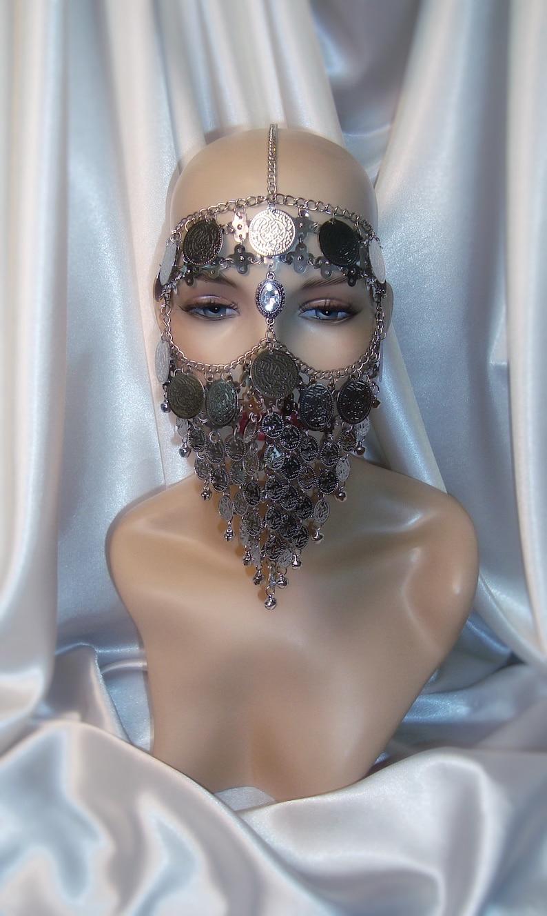 Metal Face Veil Face Veil Silver Chain Headpiece Silver Mask Silver Headpiece