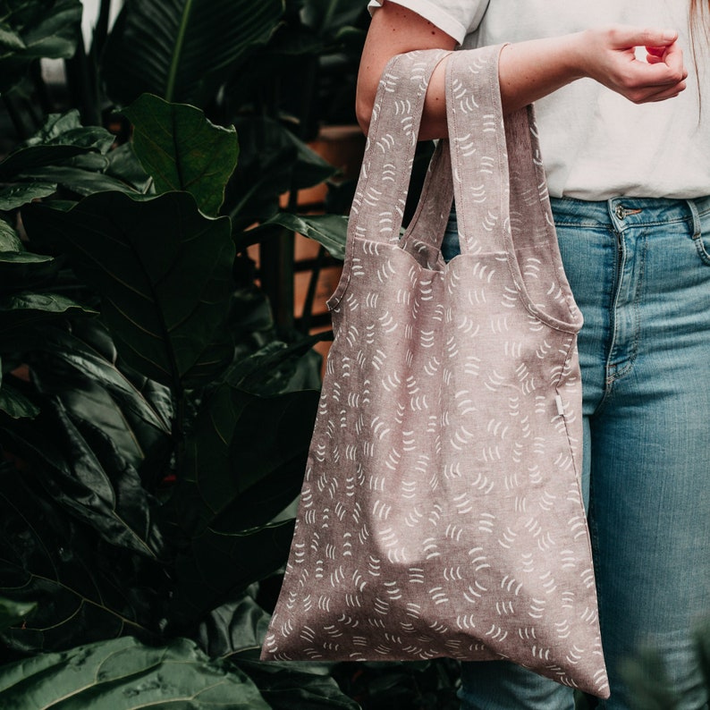 PINK SHOPPING BAG / zero waste reusable sturdy / minimalist image 0