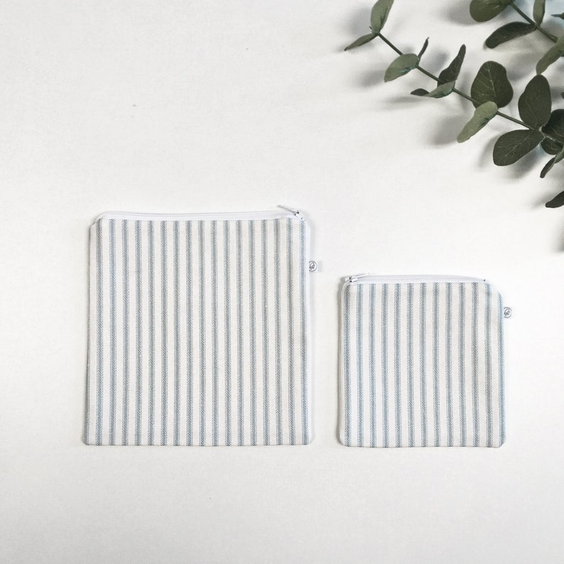 STRIPED LUNCH POUCH / collation sandwich bag / back to school image 0
