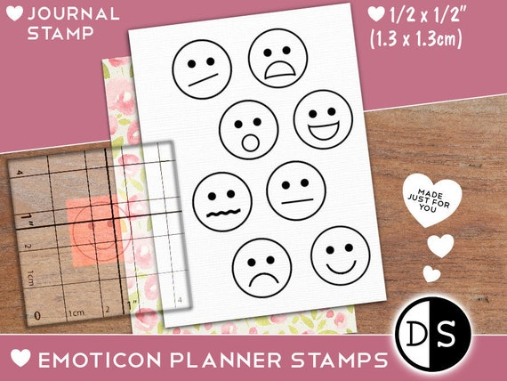 Emoticon Rubber Stamp Happy Face Sad Face Nervous Face Etsy