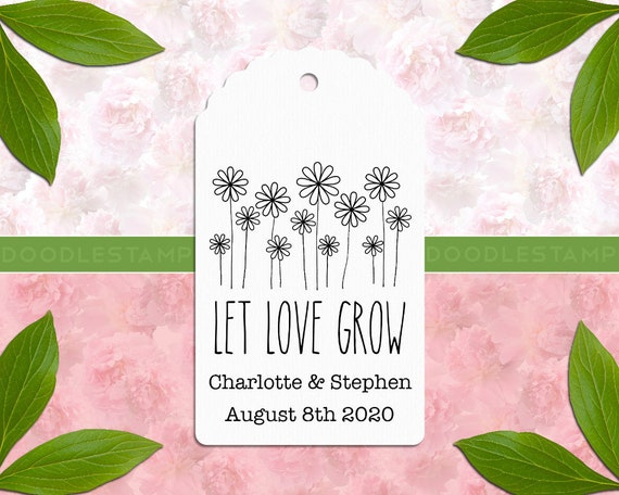 DIY Wedding Cards and Tags Stamp Floral Wedding Stamp Peronalizable Wedding Rubber Stamp  -1402290318- Let Love Grow Wedding Custom Stamp