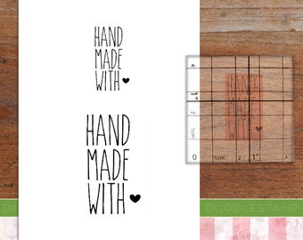 Handmade With Love text stamp, small business stamp, packaging stamp, tags and labels stamp, handmade stamp, various sizes, (minis17)