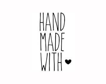 """Handmade With Love text stamp, small business stamp, packaging stamp, tags and labels stamp, handmade stamp, 0.6"""" x 1.1"""" (minis17)"""