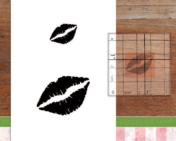 Wood Backed Rubber Stamp Lips Kiss Love