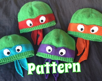 PATTERN ONLY:  Hand-knit turtle hat with ribbed or rolled bottom edge.  Dude!