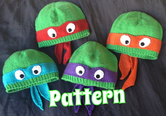 Pattern Only Hand Knit Turtle Hat With Ribbed Or Rolled