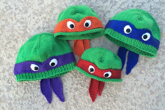 Hand Knit Teenage Mutant Ninja Turtle Hat With Ribbed Or