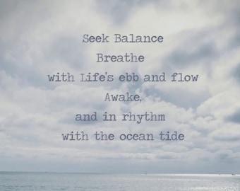Zen Print / Inspirational Art / Ocean Wave Photo / California Coast / Dana Point Beach / Blue Ocean Surf / Meditation Art / Ocean Photograph