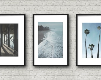 Beach Photo Set | Pacific Ocean Art |  SALE Photo SET | Water Series | 3 Print Wall Decor | California Modern | San Clemente | Coastal Art