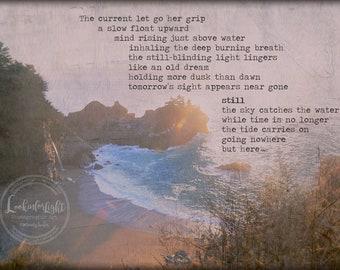 Ocean Poem Photo / Zen Print Art / California Coast / McWay Falls Photo / Sunset Dusk Poem / Meditation Prayer Art / Big Sur California Art