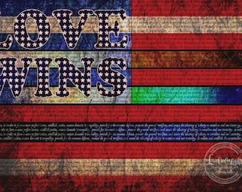 Love Wins Flag | Human Rights Art | Digital Download | Printable Equality Art | Equal Justice Design | Equal Rights Poster | Social Justice