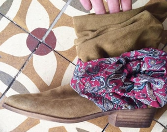 Leather boho chic boots with bow / Spain made