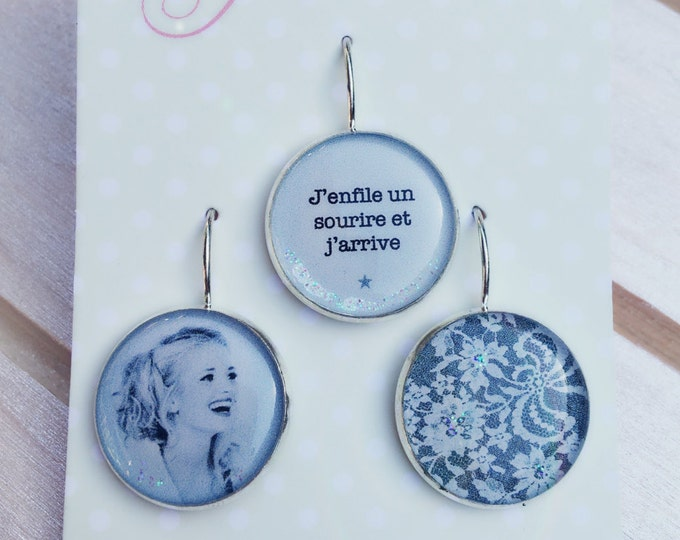 Trio of earrings in resin (18mm in diameter) - smile - trio 2 - the feather ear collection