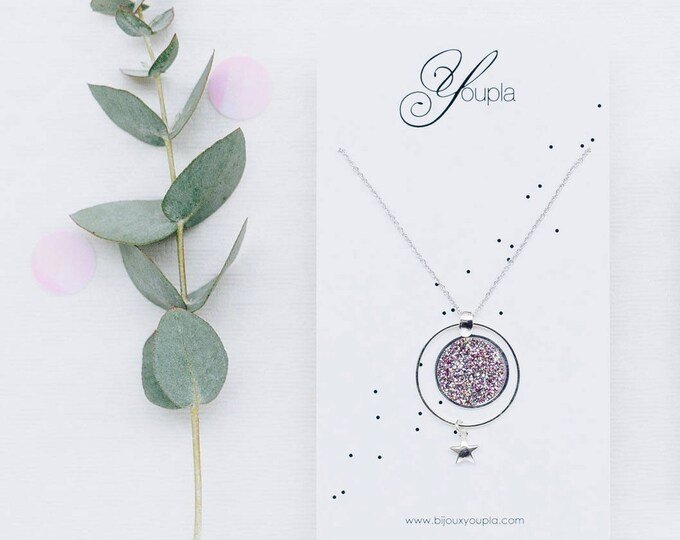 Reversible necklace COSMOS glitter confetti