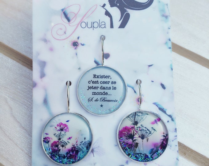 Trio of stud earrings resin - Chacha by Iris - trio 13 - the feather ear collection