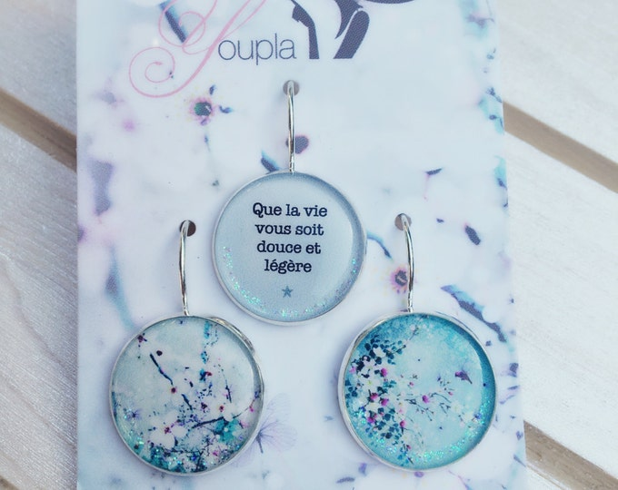 Trio of earrings in resin (18mm in diameter) - Chacha by Iris - trio 14 - the feather ear collection