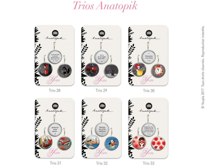 1 trio earrings resin - 18mm in diameter - choose from our collection