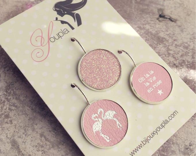 Trio of Flamingo Pink leather (18mm in diameter) earrings - trio 40AG