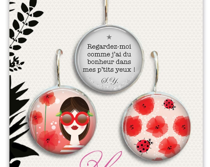 1 trio of earrings in resin - 18mm poppy - Anatopik