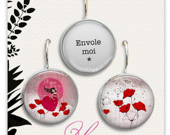 Trio earrings kite - Youpla & Anatopik (18mm diameter) - collection the feather in ear (39)