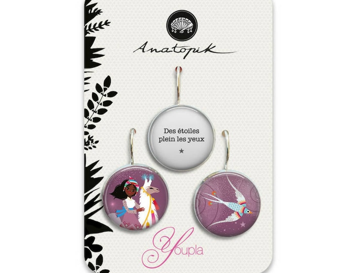 Trio earrings Guanaco - Youpla & Anatopik (18mm in diameter) - the feather ear collection (45)