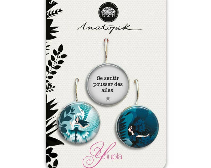 Trio dangle earrings - Youpla & Anatopik (18mm in diameter) - the feather ear collection Swan Lake (46)