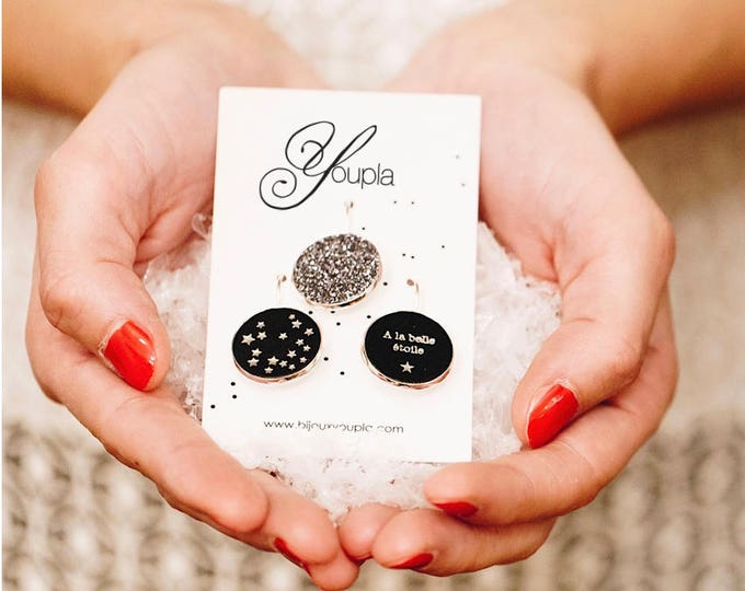Trio of earrings leather stars (18mm in diameter) - 49 trio / Valentine's day