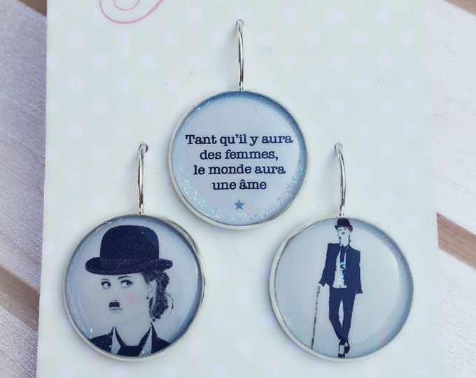 Trio of earrings resin (18mm in diameter) - Charlie Chaplin - trio 7 - collection La Plume to the ear