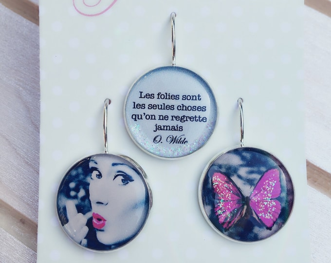 Trio of resin (18mm in diameter) - pink butterfly earrings - trio 5 - the feather ear collection