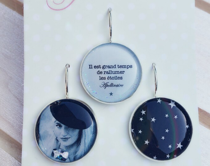 Trio of resin (18mm in diameter) - stars - 8 - the feather ear collection trio earrings / Valentine's day