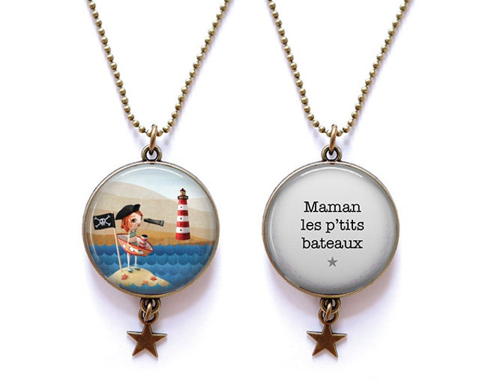 double-sided MOM necklace p' little boats - Youpla & Anatopik