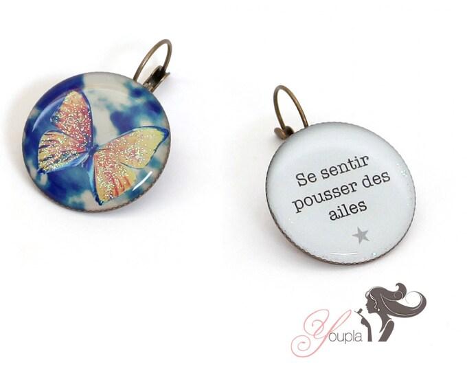 Earrings resin (25mm in diameter) - brass - collection La Plume à l'Oreille (CD44 + T04)