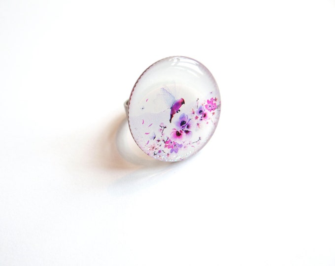 Ring in resin Chacha by Iris (diameter 25mm) - brass - collection La Plume at the ear (CD80)