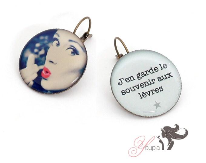 Earrings resin (25mm in diameter) - brass - collection La Plume à l'Oreille (CD15 + T13)