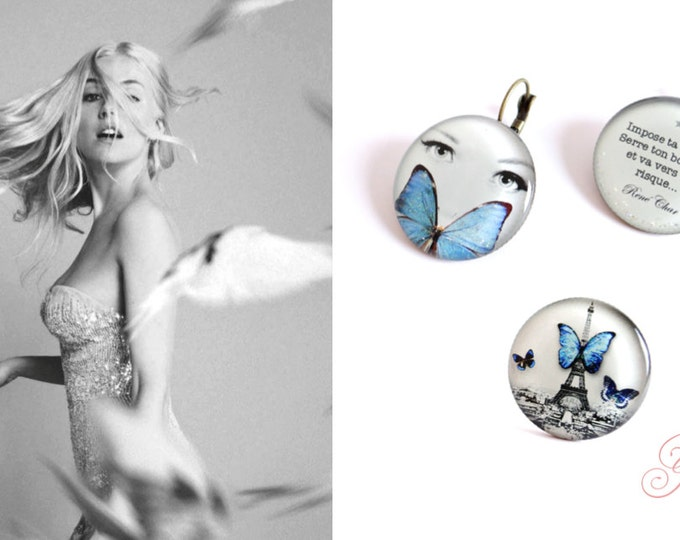 Set earrings + ring + CD57 T32 (2, 5cm diameter) - resin - the feather ear collection / Valentine's day