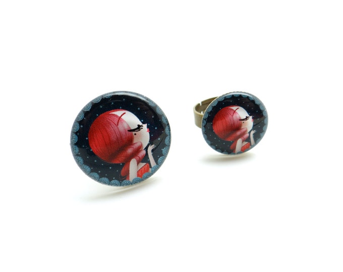 Ring in resin - Allen & Adolie Day - EVE collection La Plume at the ear (AD1)