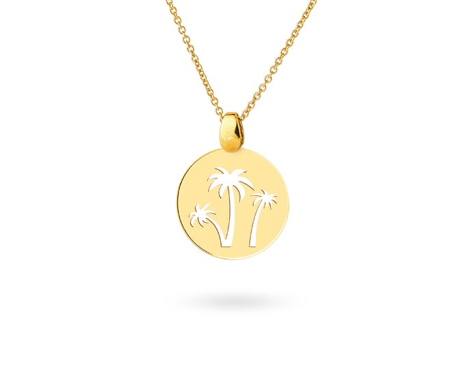 Print Palm tree necklace