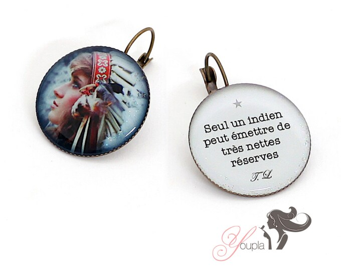 Earrings resin (25mm in diameter) - brass - collection La Plume à l'Oreille (CD11 + T11)