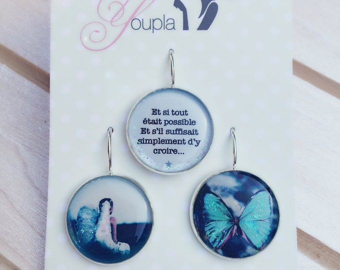 Trio of earrings in resin (18mm in diameter) - Ange Butterfly - 6 trio - the feather ear collection