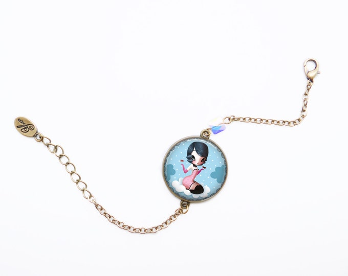 Resin bracelet LOU - Allen & Adolie Day - brass - collection La Plume at the ear (AD5)