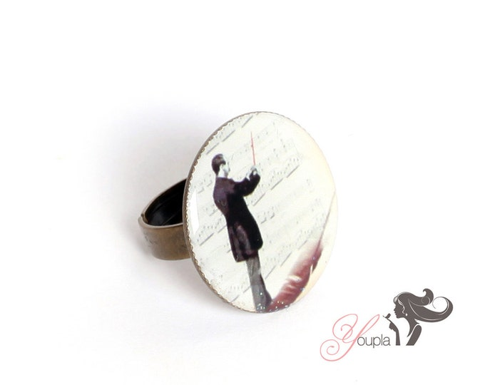 Ring in resin TL2 (2, 5cm in diameter) - support brass - collection La Plume to the ear