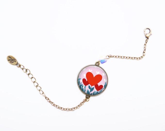 Resin bracelet VIE EN ROSE - Allen & Adolie Day - brass - collection La Plume at the ear (AD4)