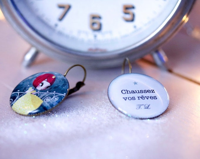 Stud Earrings resin Cinderella - Youpla & Adolie Day (25mm in diameter) the feather to the ear (ANA11 T39) collection
